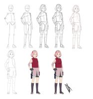 Step by step: Haruno Sakura by Johnny-Wolf