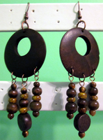 Wood - Tigereye Chandelier Earrings by BloodRed-Orchid