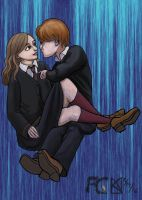Ron + Hermione by kelseyleah