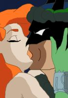 Batman and Poison Ivy Kissing by Ellasmeria
