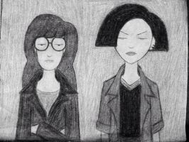 Daria and Jane (black and white) by julianDB92