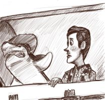 Pixar: Woody and Shark by RadioRae62189