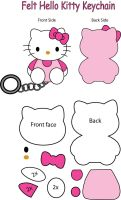 Hello Kitty felt Keychain by Mokulen22