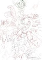 Rough pencils for Parker, Banner and some mutants by sektujai