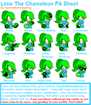 Lime The Chameleon PA Sheet by Taymenthehedgehog