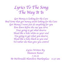 Lyrics to Song- The Way It Is by Shannonkaiser