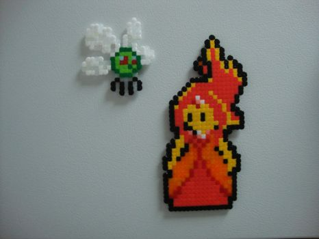 Perler Beads - Flame Princess and Friend by Quiet-Lamp