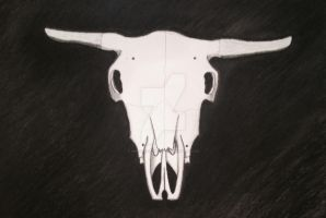 Bull Skull Art Project by NinjaWereWulf