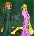 Rapunzel and Merida by SimPlyPlaIn42
