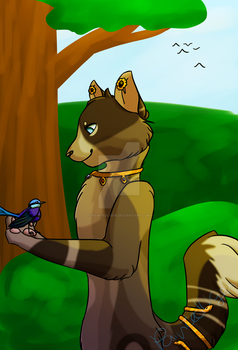 cat and birb by PaintedLiger