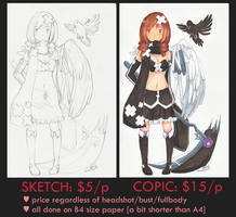 SKETCH AND COPIC COMMISSIONS PROMOTION by rainbownote
