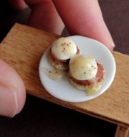 Dollhouse Miniature Eggs Benedict by fairchildart