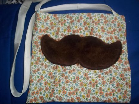 Large Floral Fuzzy Mustache Bag by SuperRainbowOctopus
