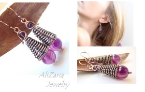 Purple Rain Drops Earrings by AliZariaJewelry