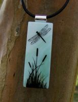 Jade Dragonfly Fused Glass by FusedElegance