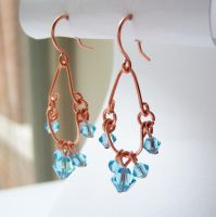 Copper and Aquamarine Earrings by lulabug