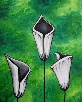 White calla lilies on green by RedRowanDesigns