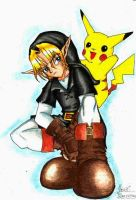 Dark Link + Pikachu by YoshiMarshmallow