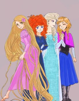 Rapunzel Merida Elsa and Anna by Jackclamp