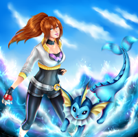 [FANART/OC] My PokemonGO trainer and her Vaporeon by SirensReverie