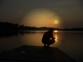 Fishing on a sunset by MyriamRockGirl