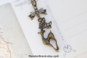 Cute Deer with Bow Necklace by MonsterBrandCrafts