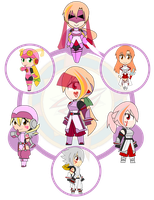 Assorted Chibis - AU Hexafusion 5 by Dragon-FangX