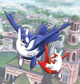 Latios and Latias: Whimsical Flight by Lone-wolfkay