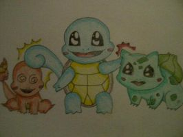 Kanto Starters Chibi (Squirtle Steals Spotlight) by AnimeChibiest