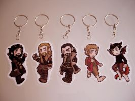 The Hobbit keychains! by Quezsam