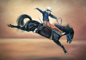 Pastel Bronc Horse Drawing by lalabellexx