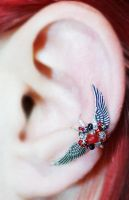 Red, Black and Silver Winged Fairy Ear Cuff by sylva