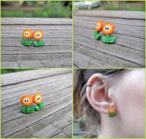 Nintendo Fire Flower Earrings - Fanart Video game by Tsurera