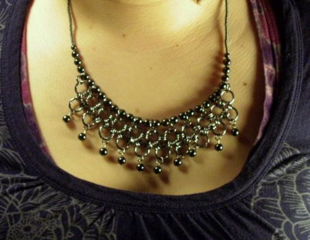 Chainmaille and Bead necklace by typhoid-lori