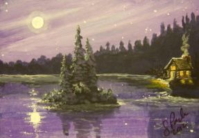 ACEO Cabin on the Lake by annieoakley64