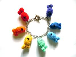 Rainbow knitted fish bracelet by Gillyflower-Designs