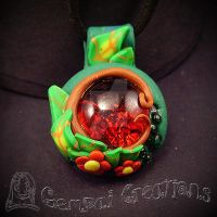 Handcrafted Polymerclay Nature Necklace by Gempai-Creations