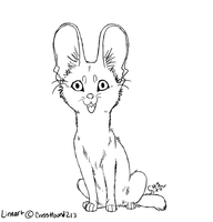 Chibi Serval Lineart by CrossHound213