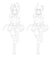 Warrior lineart 2 versions by yoco-chan