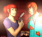 GTA!AU Lindsay and Jack by MeshaSunshine