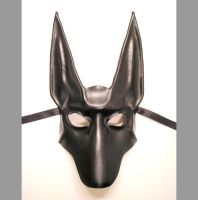 Black Jackal Leather Mask Anubis Egyptian Dog by teonova