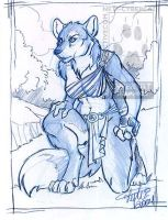 Blue Pencil Kneeling Werewolf by lady-cybercat
