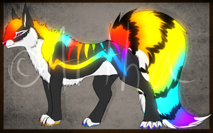 Rainbow Wolf Adoptable Auction CLOSED by Artha-Adopts
