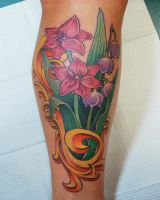 Flowers and Flourish Tattoo by joshing88