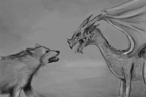 direwolf vs. dragon by Amaranthia