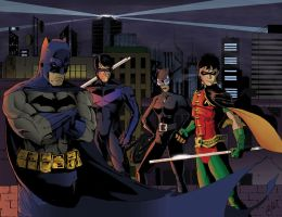Batman and Crew by peetietang