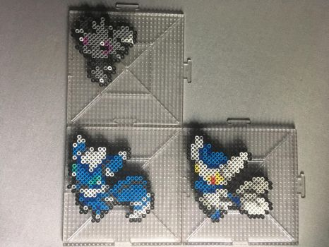 #677-#678 Espurr and Meowstic Perlers by TehMorrison