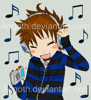 Chibi Arigoth and Ipod by Arigoth