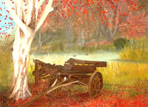 wagon by white tree by doubled123