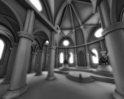 WIP Hall With Gargoyles by Vikingheretic